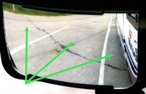 Convex mirror w arrows