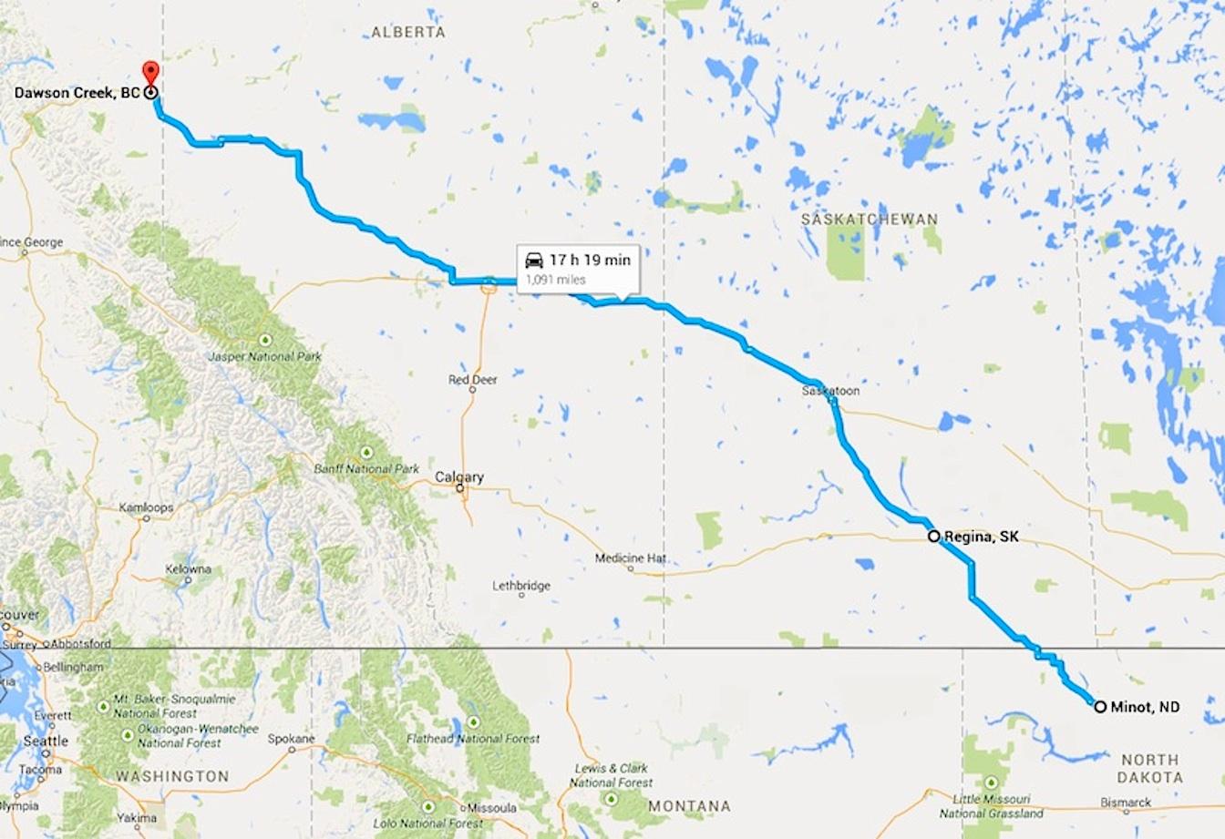 Map Minot-Dawson Creek